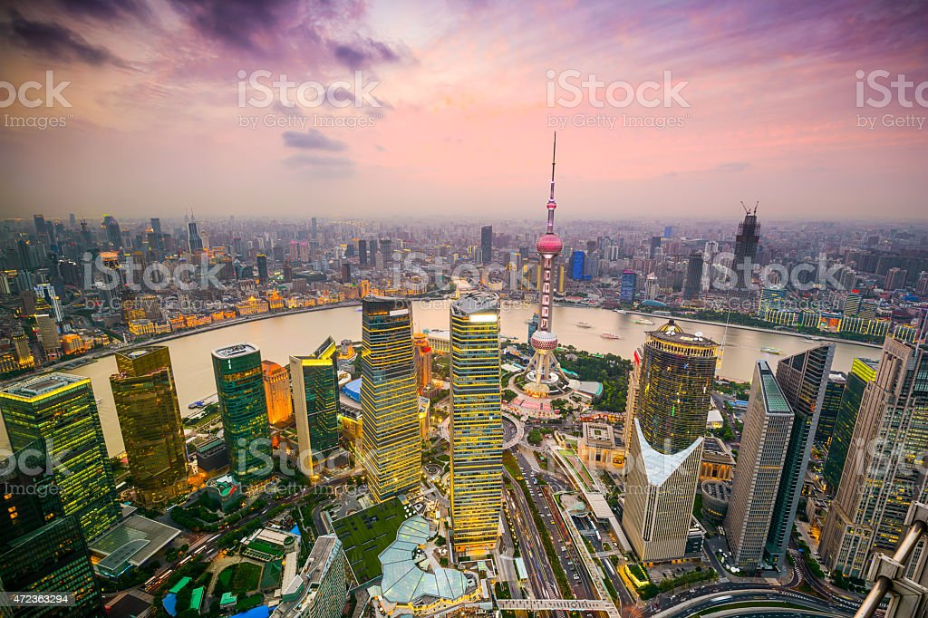 Aerial cityscape of Shanghai, China stock photo