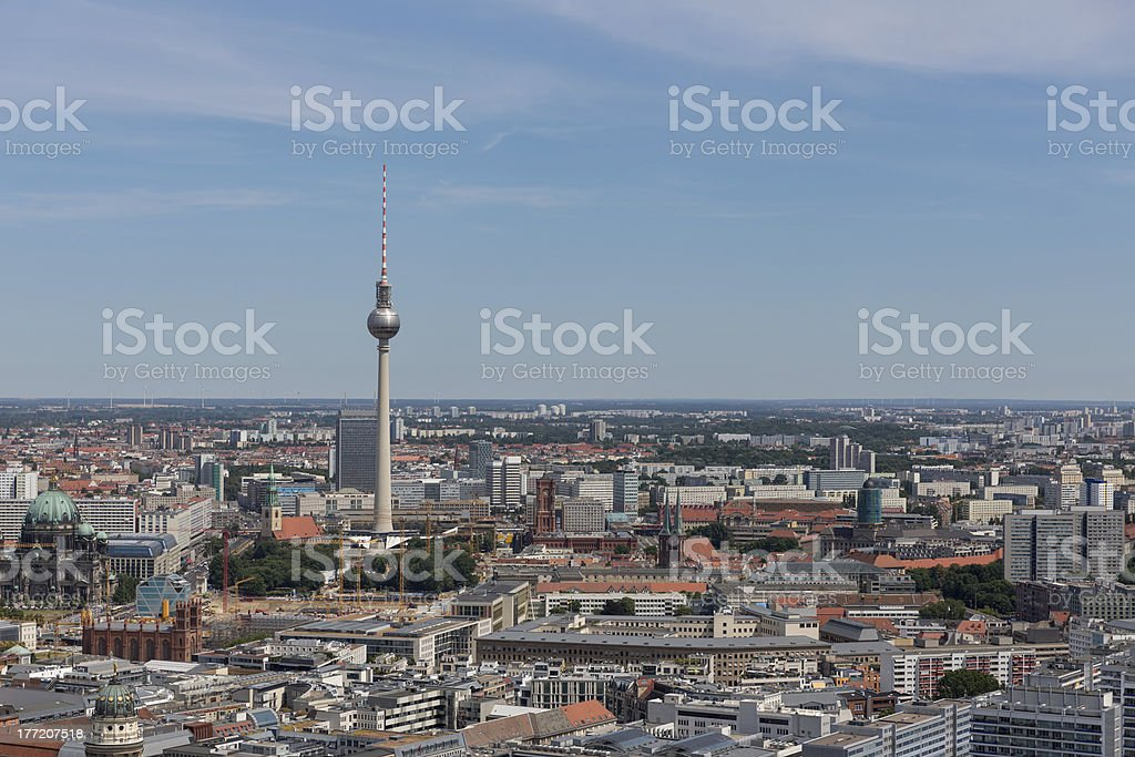 Aerial cityscape with television tower of Berlin, Germany royalty-free stock photo