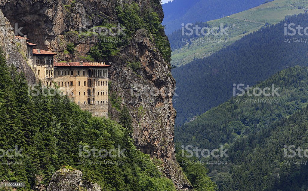 Aerial cliffside shot of Sumela Monastery in Trabzon, Turkey stock photo