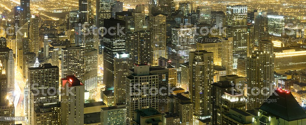Aerial Close Up View of Downtown Chicago at Night (XXXL) stock photo