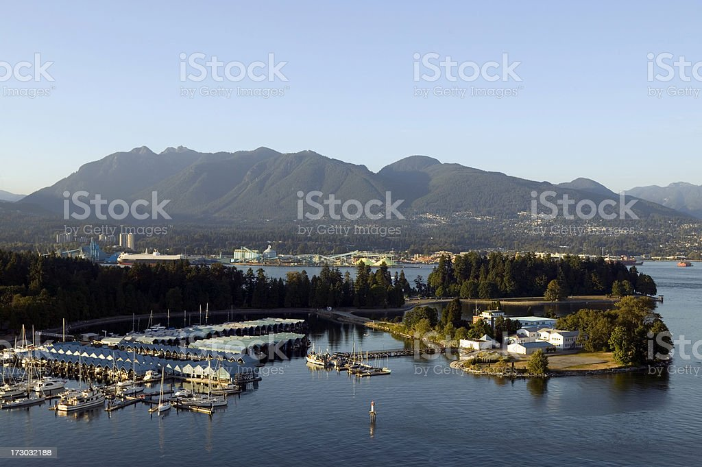 aerial coal harbor stanley park vancouver british columbia royalty-free stock photo