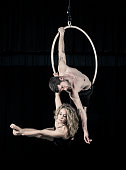 Aerial dancer couple performance