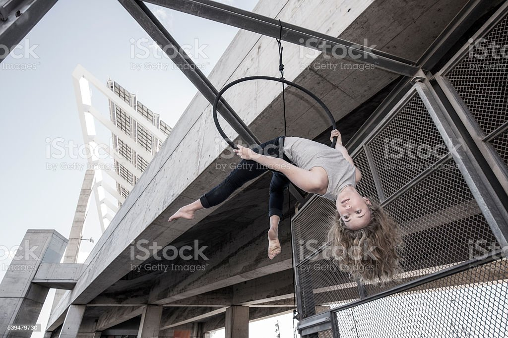 Aerial dancer performace in the city stock photo