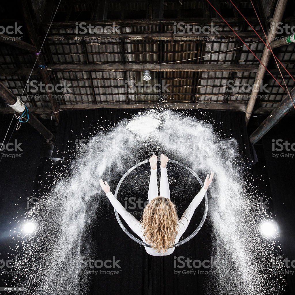 Aerial dancer performance stock photo