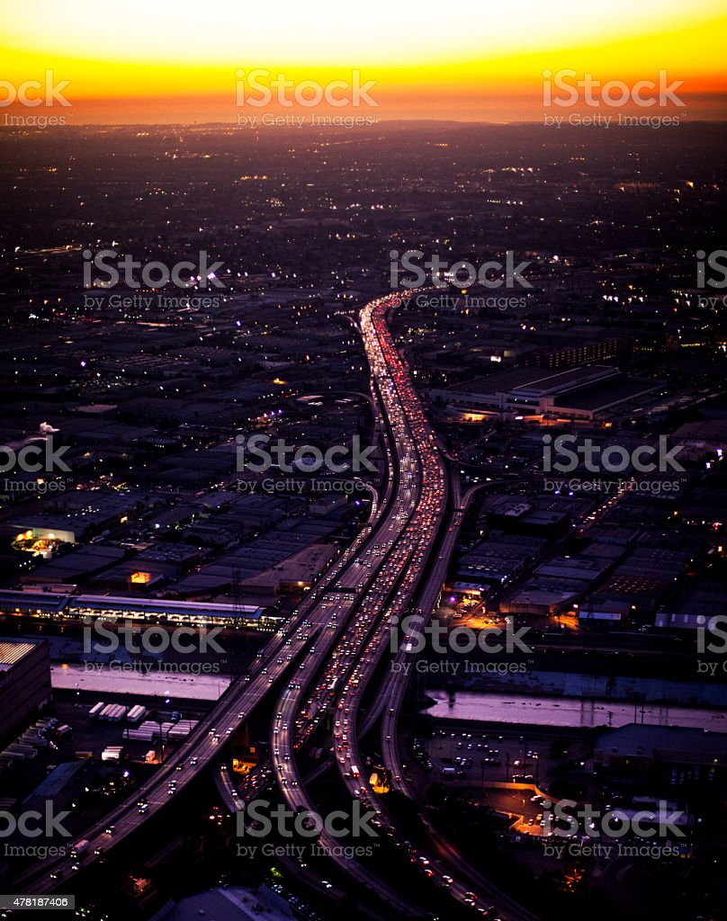 Aerial Downtown Los Angeles at Night stock photo