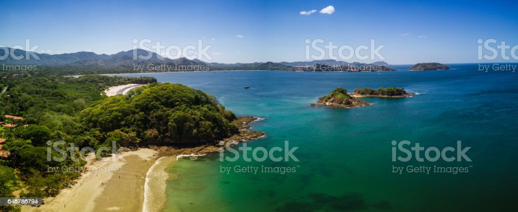 Aerial drone photo.  Beach & rainforest of Costa Rica stock photo