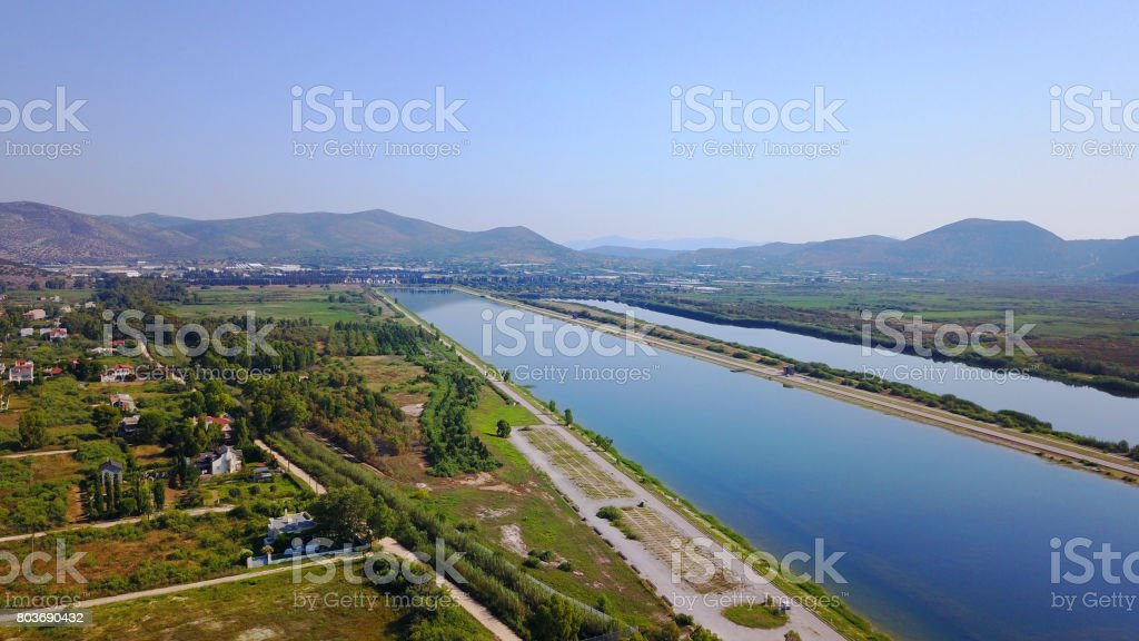 Aerial drone photo of Schinias area public rowing and canoeing center, Attica, Greece stock photo