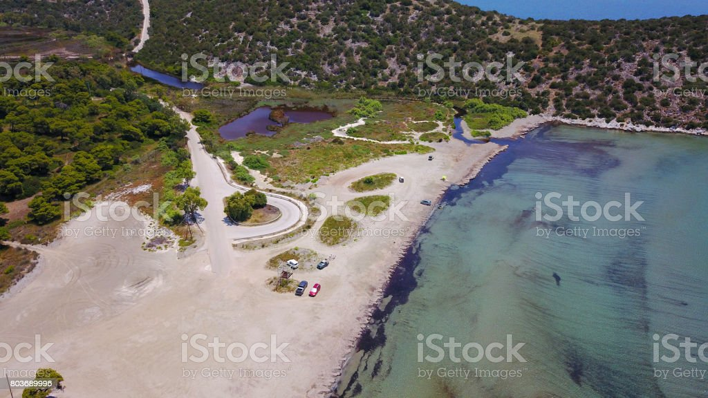 Aerial drone photo of Schinias area with turquoise water beach, Attica, Greece stock photo