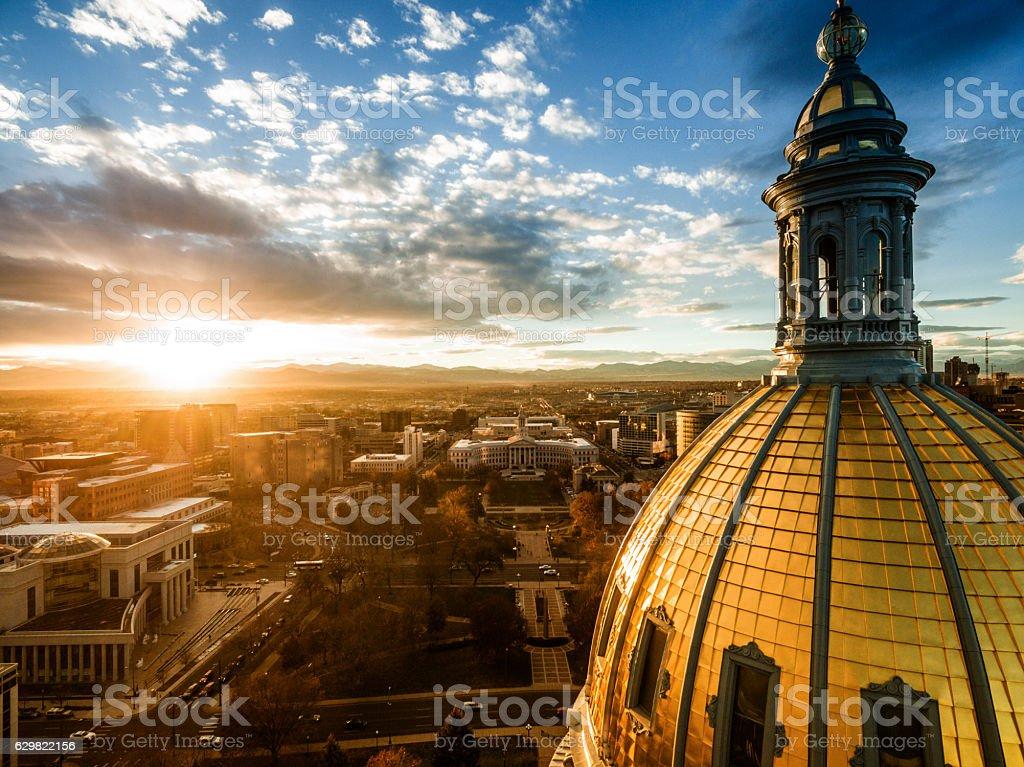 Aerial drone sunset photo.  Colorado capital building, city of Denver stock photo