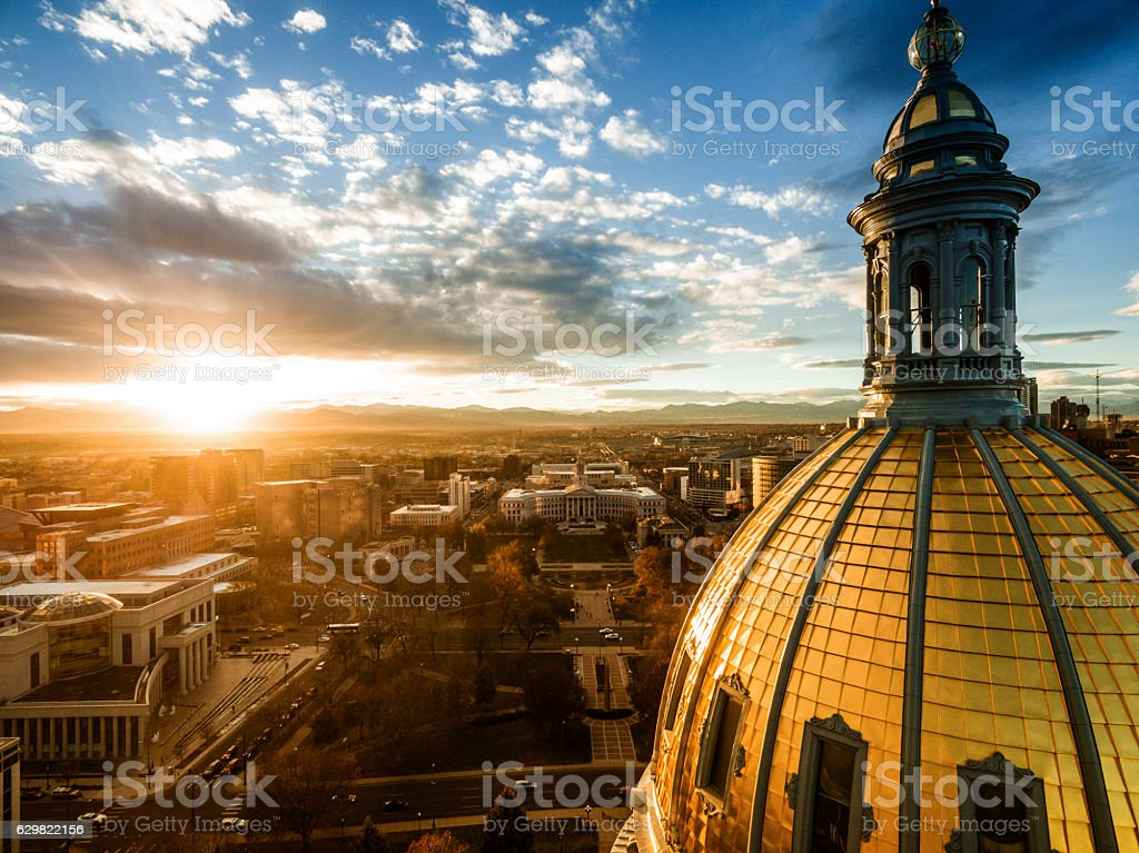Aerial drone sunset photo.  Colorado capital building, city of Denver stock photo