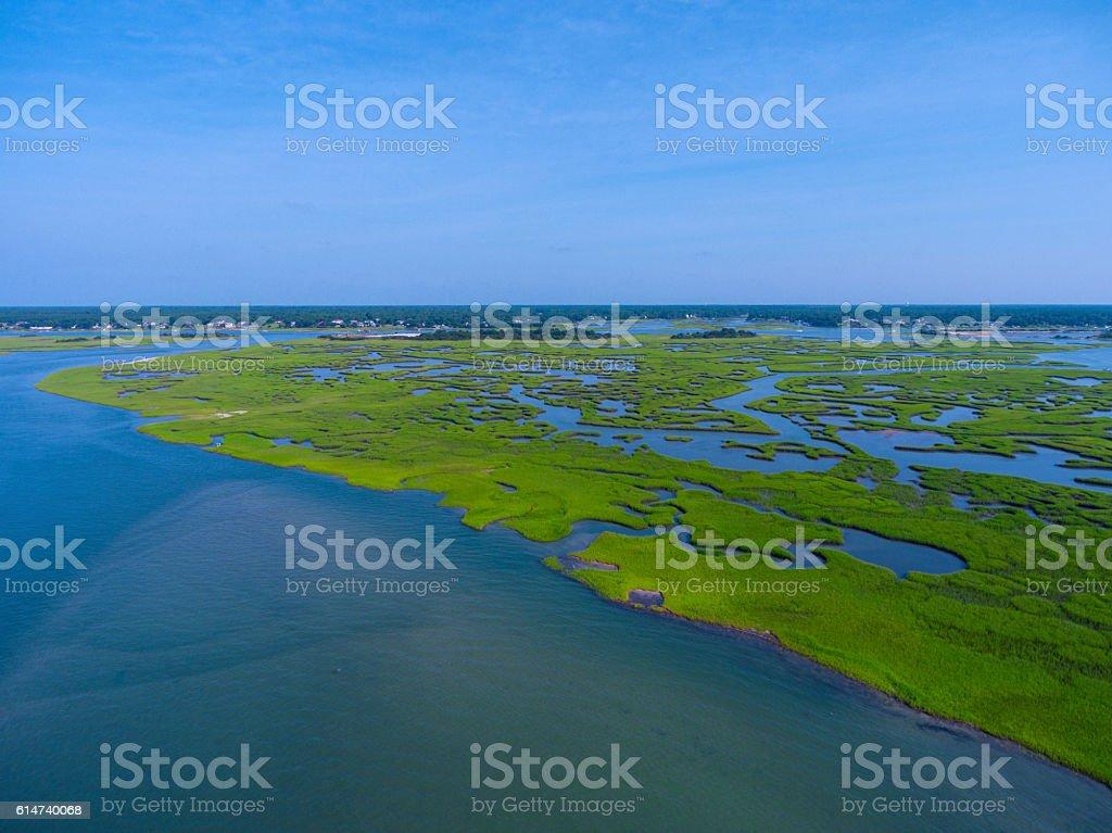 Aerial drone view of coastal marshlands stock photo
