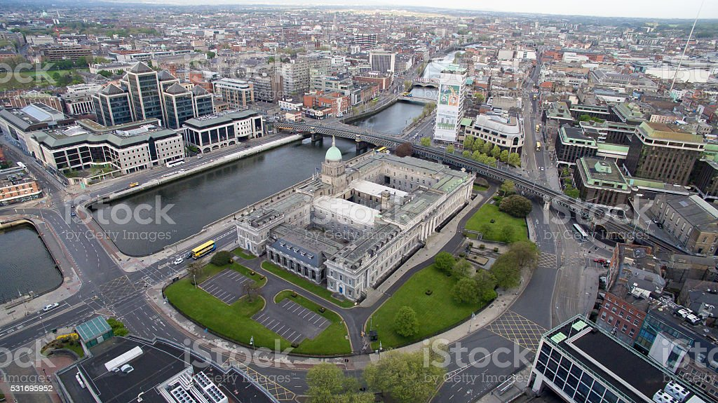 Aerial drone view of Dublin City, Ireland. stock photo