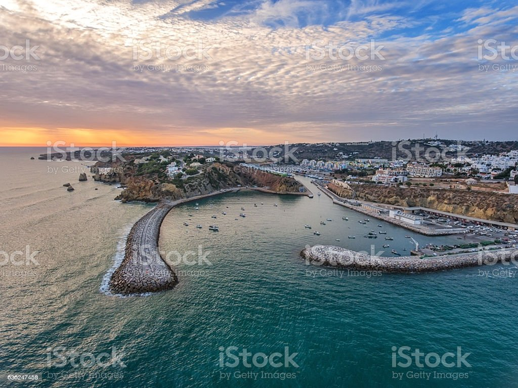 Aerial. Entrance to the harbor seaport in Albufeira. stock photo