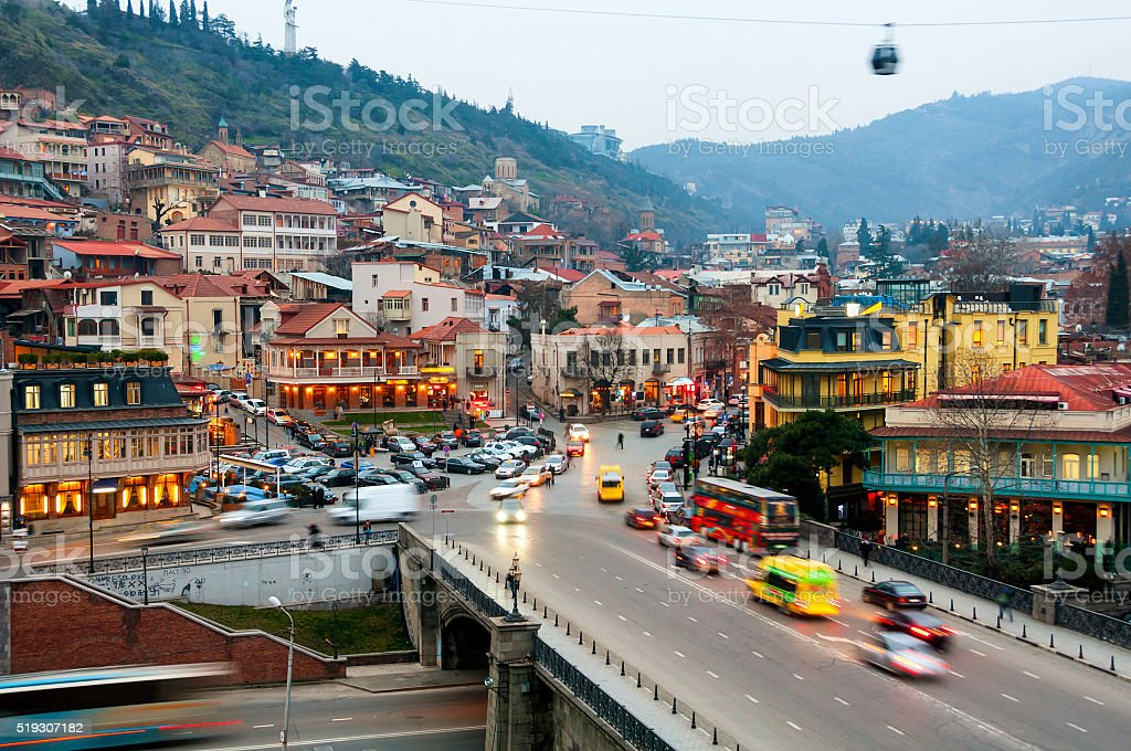 Aerial evening view of Old Tbilisi, Georgia stock photo