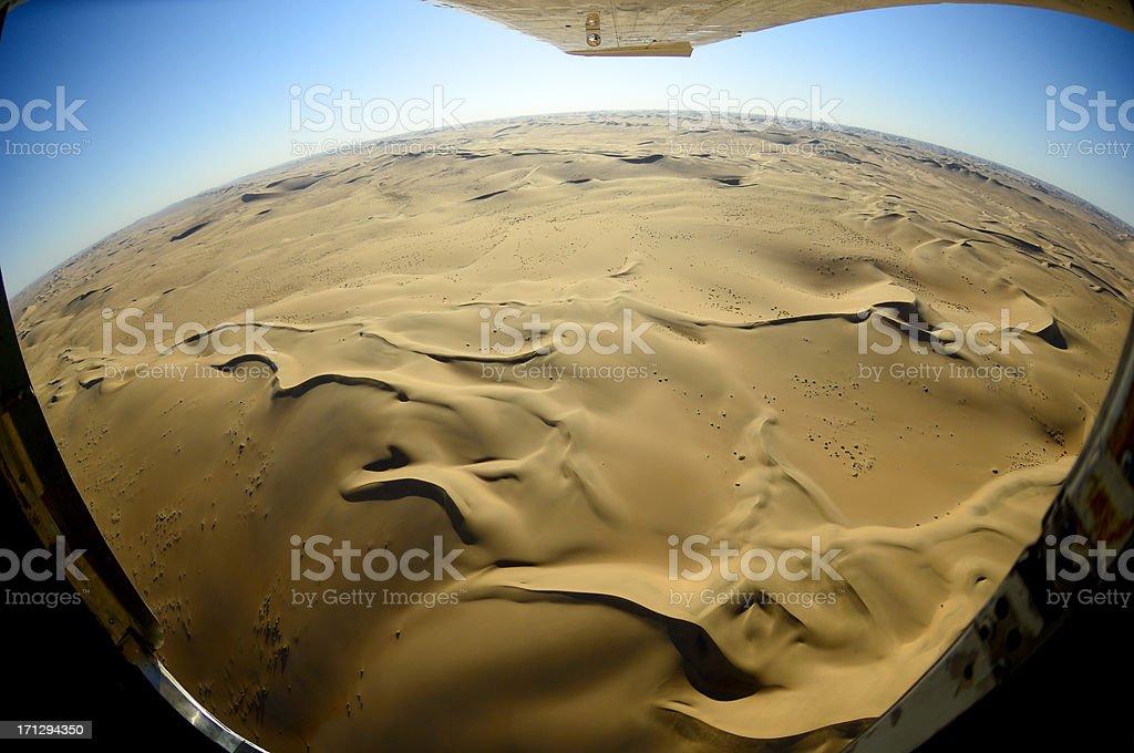 Aerial fisheye photo from the desert stock photo