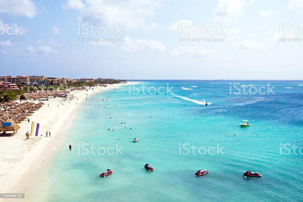 Aerial from Eagle beach on Aruba island in the Caribbean stock photo