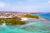 Aerial from Mangel Halto beach on Aruba island in the
