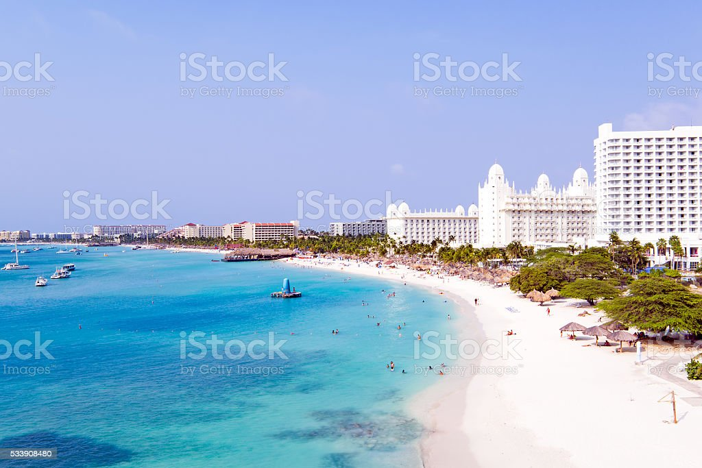 Aerial from Palm beach at Aruba in the Caribbean Sea stock photo