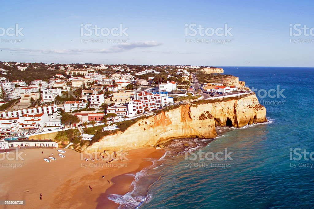 Aerial from the village Carvoeiro in the Algarve Portugal stock photo