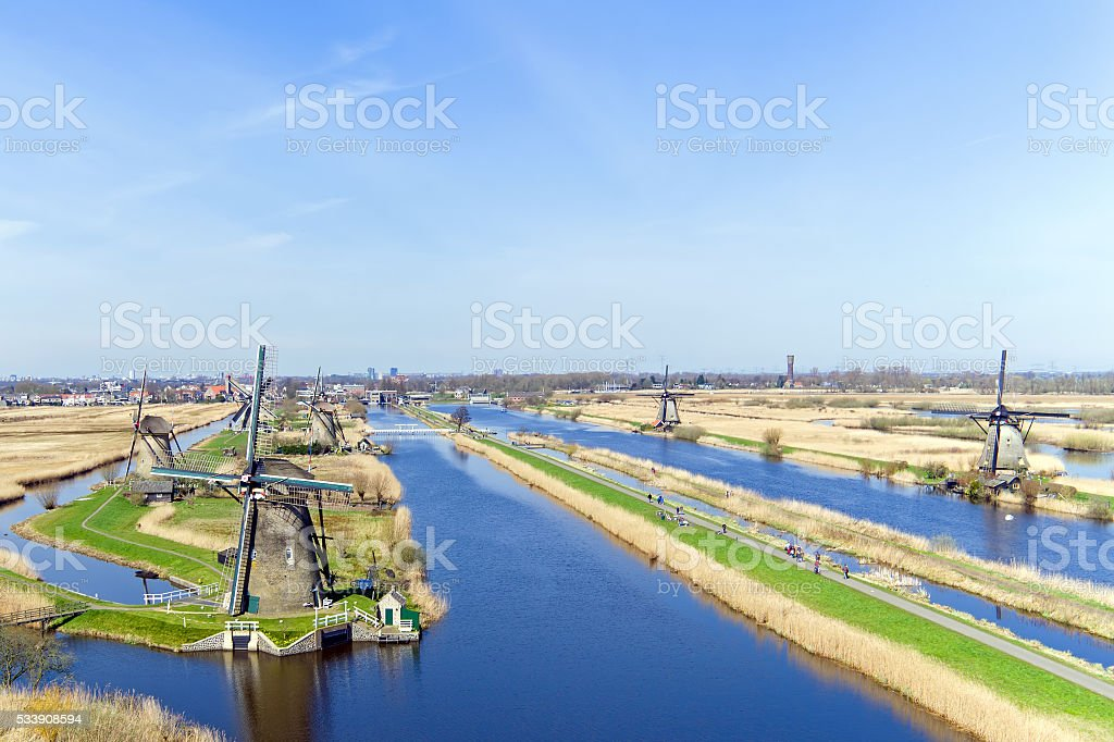 Aerial from traditional windmills at Kinderdijk in the Netherlands stock photo