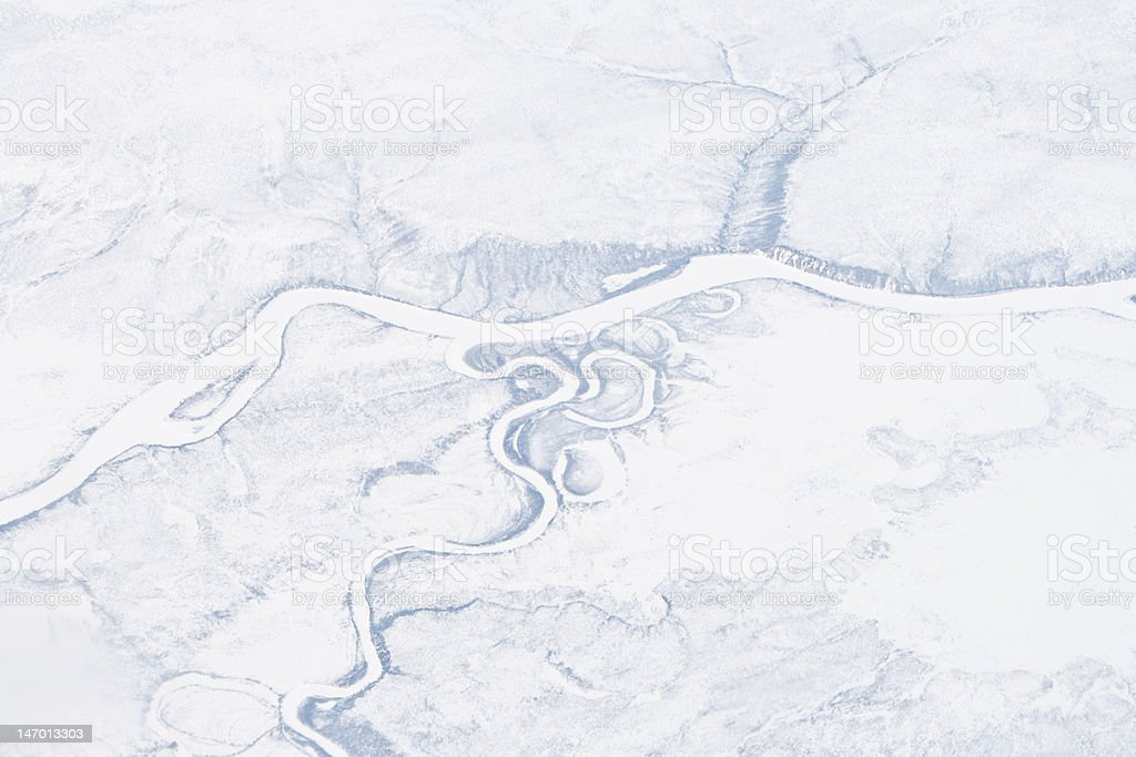 Aerial Frozen River, Sakha Republic, Verkhoyansk Mountains, Siberia, Russia. royalty-free stock photo