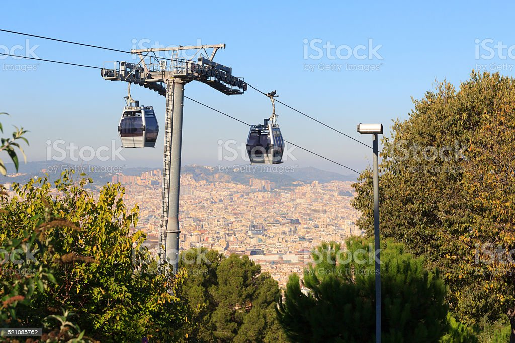 Aerial gondola lift with cable car and Barcelona cityscape panorama stock photo