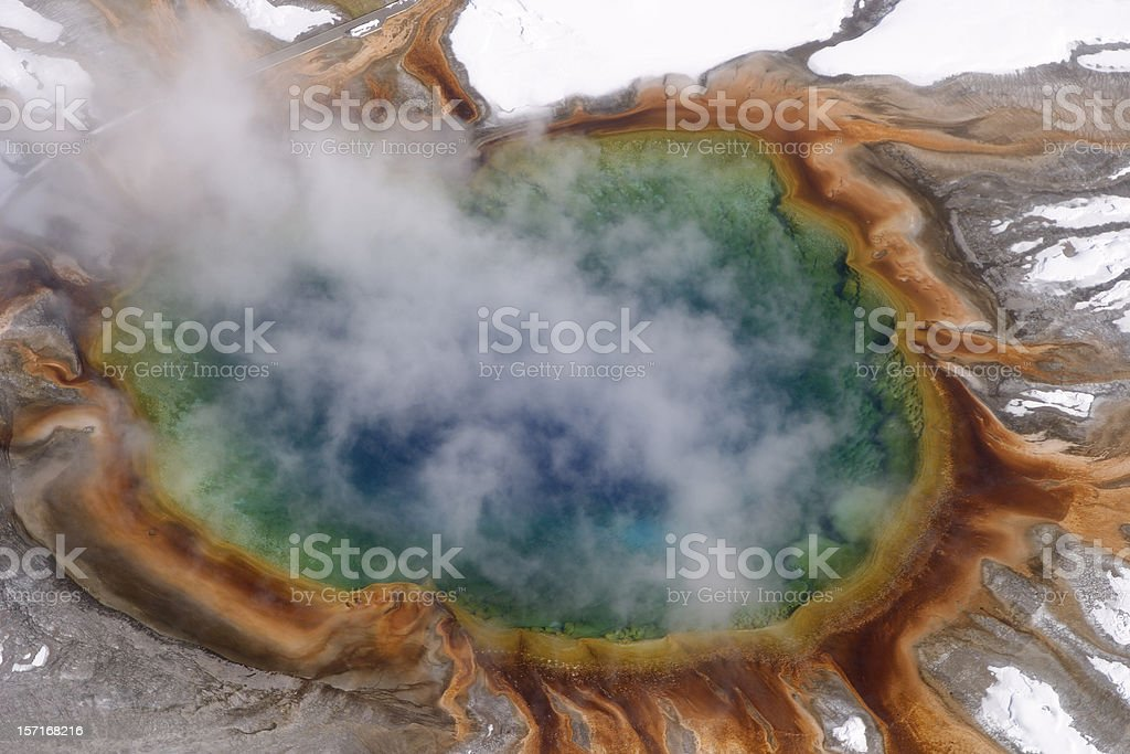 Aerial: Grand Prismatic Spring, Yellowstone stock photo