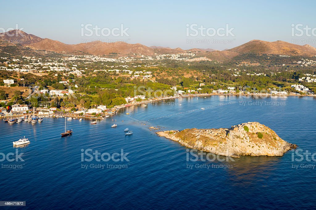 Aerial high angle view of Rabbit Island in Gumusluk, Bodrum stock photo