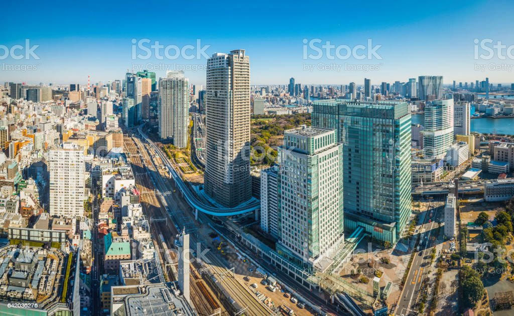 Aerial highrise cityscape panorama skyscrapers highways and railways Tokyo Japan stock photo