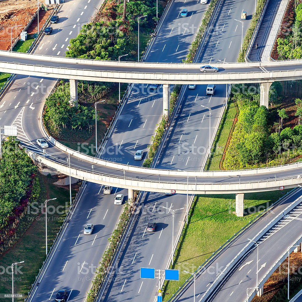 Aerial highway and cars stock photo