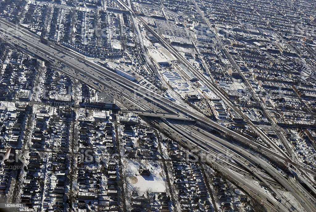 Aerial Highway Interchange in Industrial Section Downtown Chicago stock photo