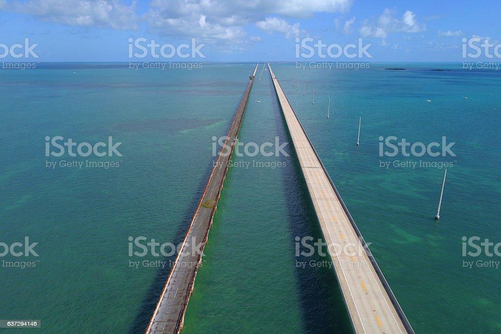 Aerial image 7 mile bridge Florida Keys stock photo