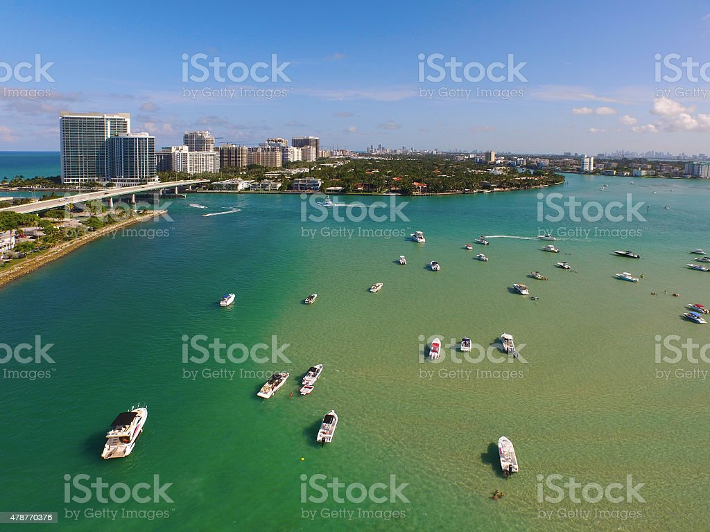 Aerial image Biscayne Bay Miami Beach stock photo