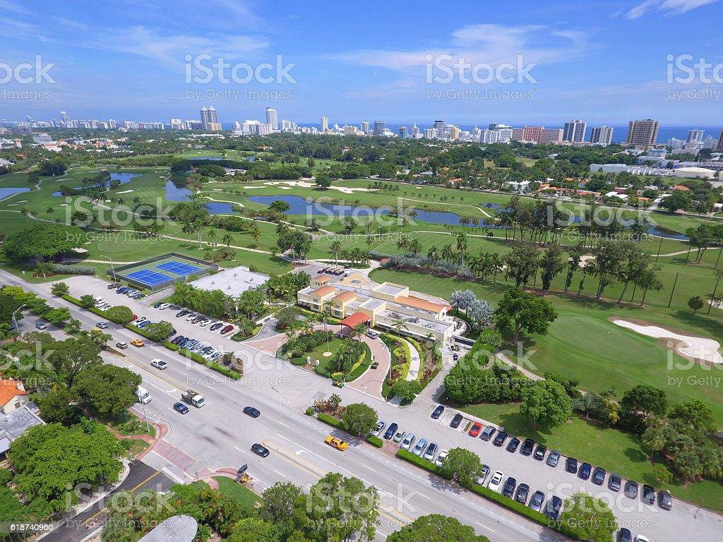 Aerial image Miami Beach Alton Road stock photo