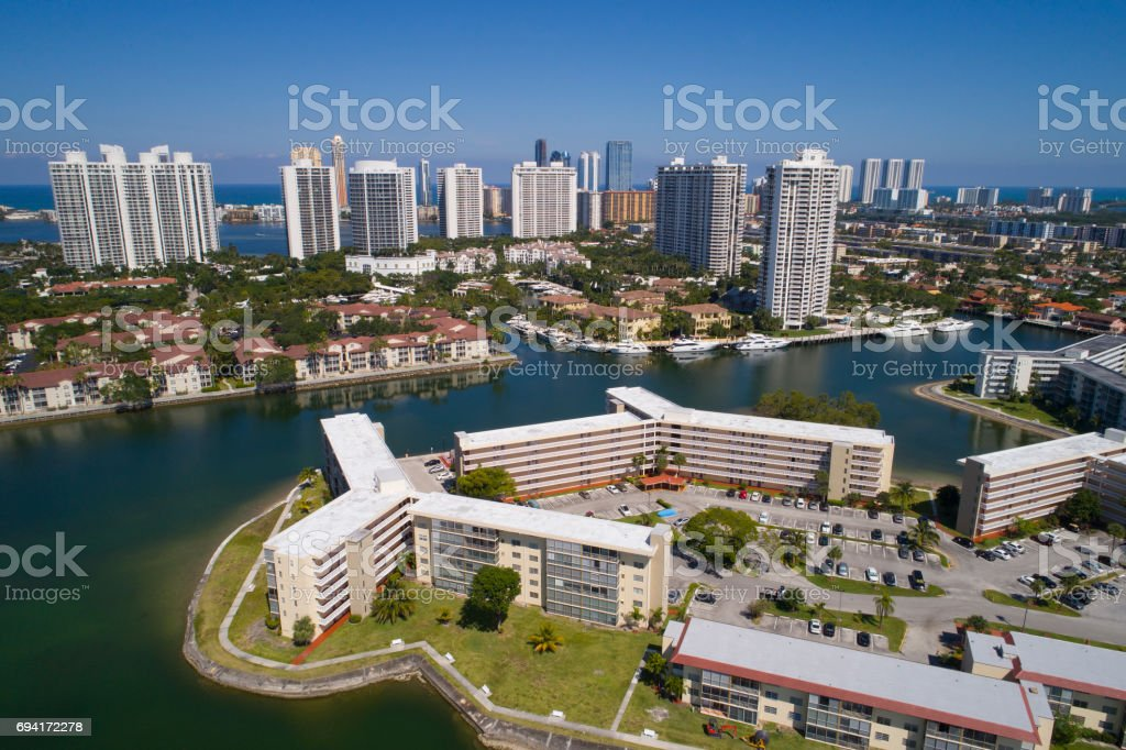 Aerial image of Aventura Florida USA stock photo