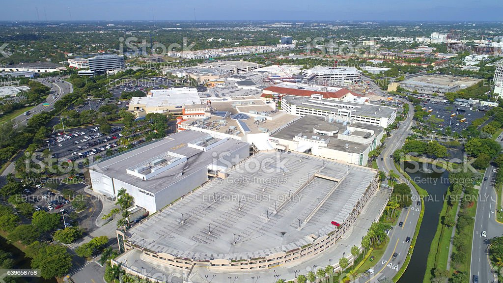 Aerial image of Aventura Mall stock photo