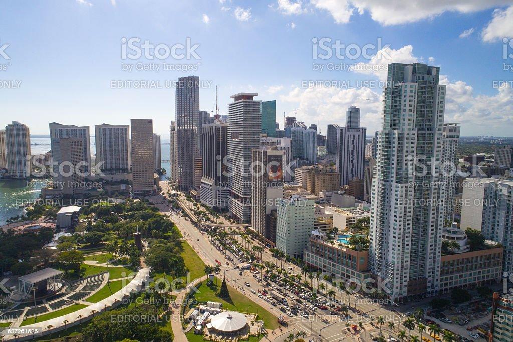 Aerial image of Downtown Miami stock photo