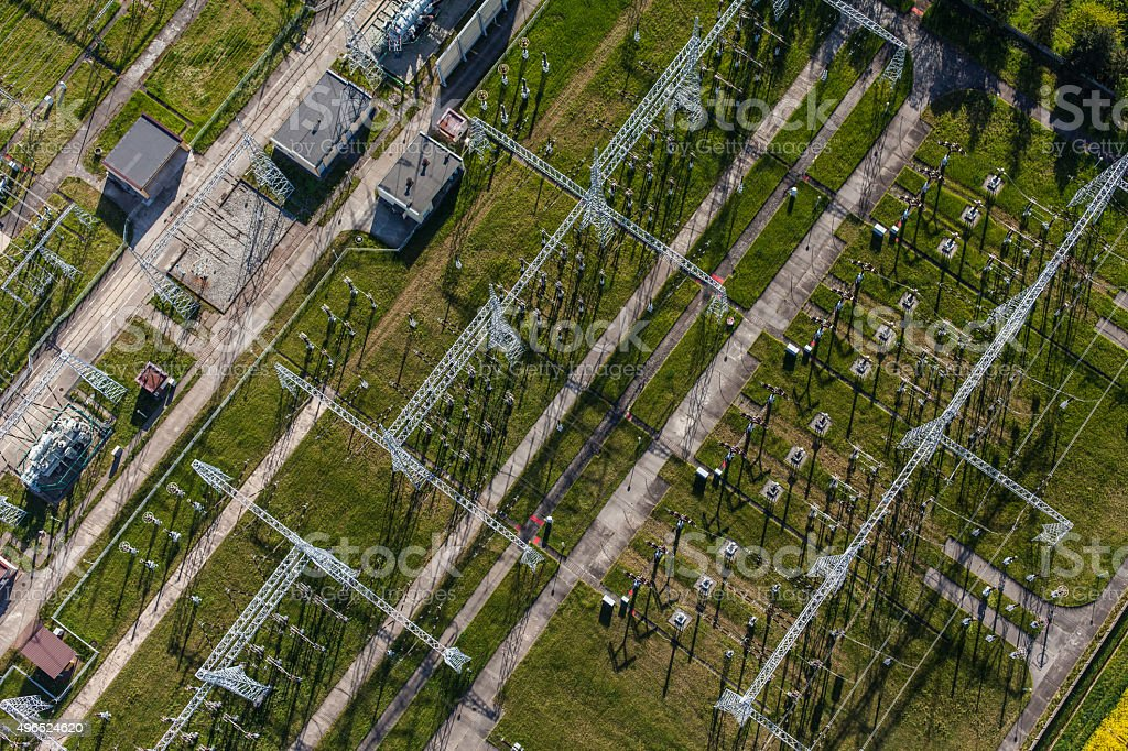 Aerial image of electrical substation featuring wires, transform stock photo