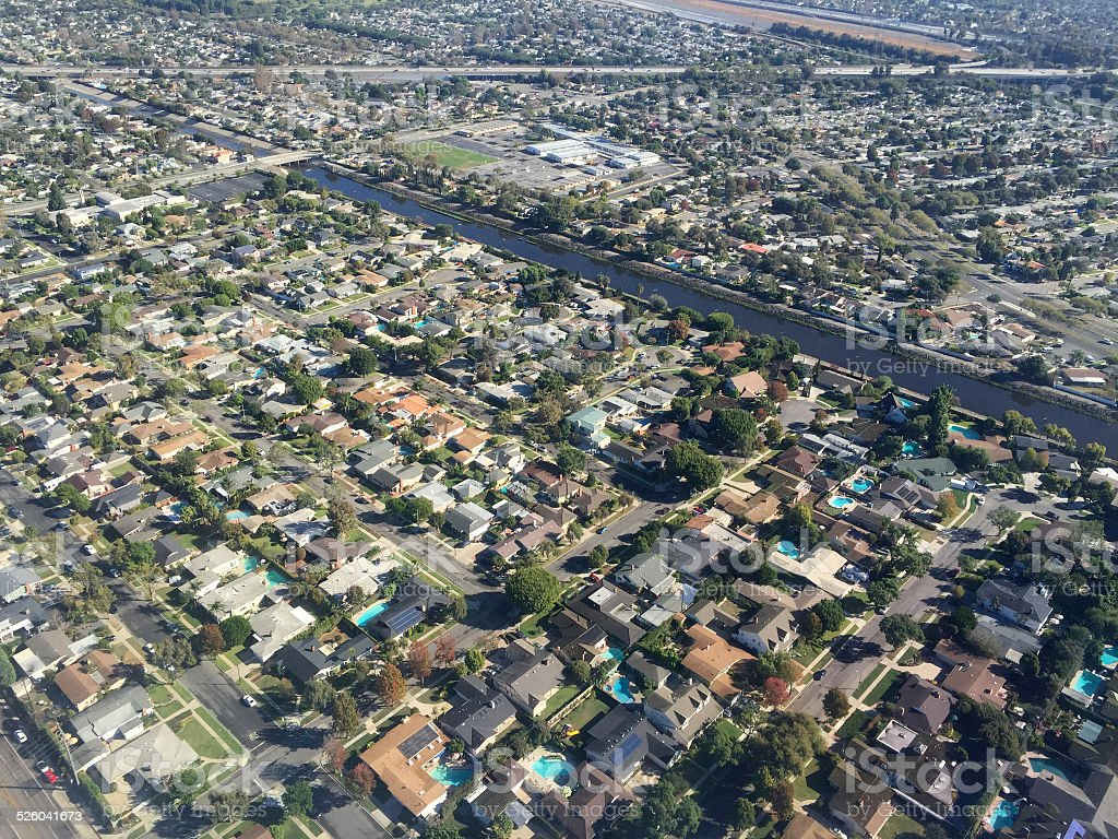 Aerial image of homes stock photo