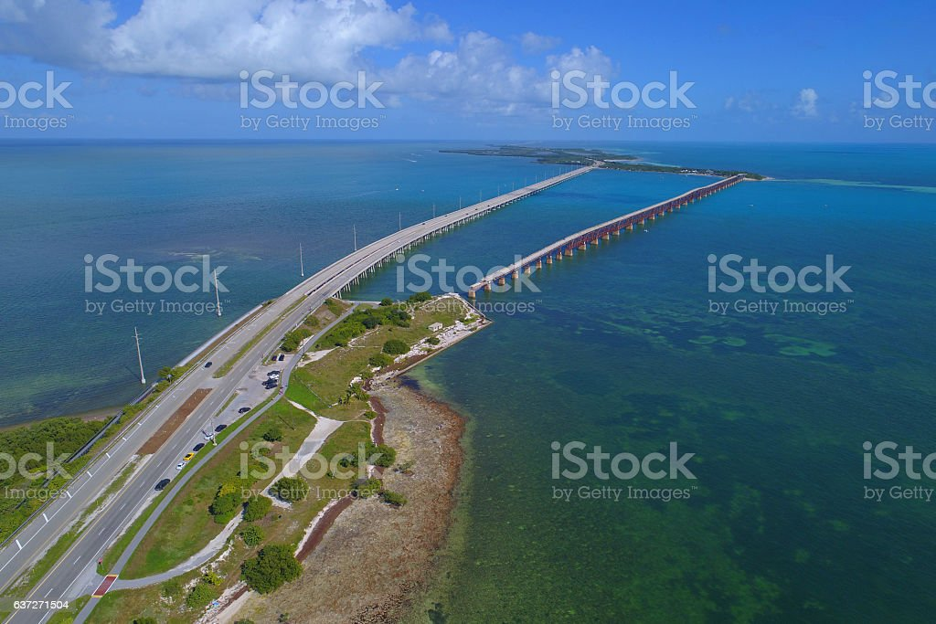 Aerial image of the Overseas highway stock photo