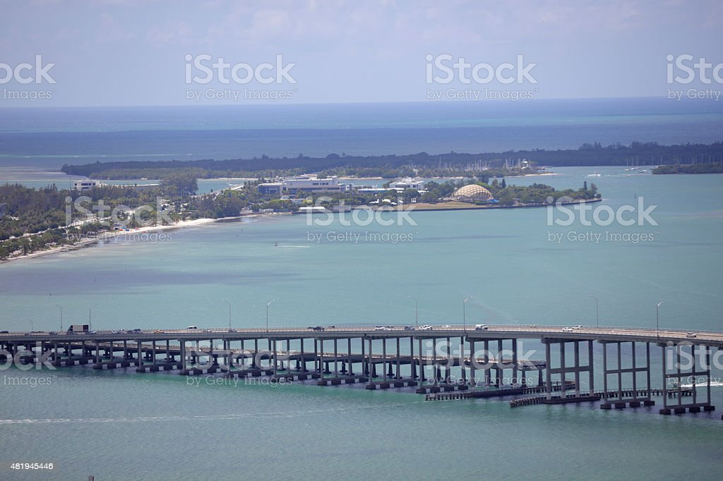 Aerial image of the Rickenbacker Causeway Miami stock photo