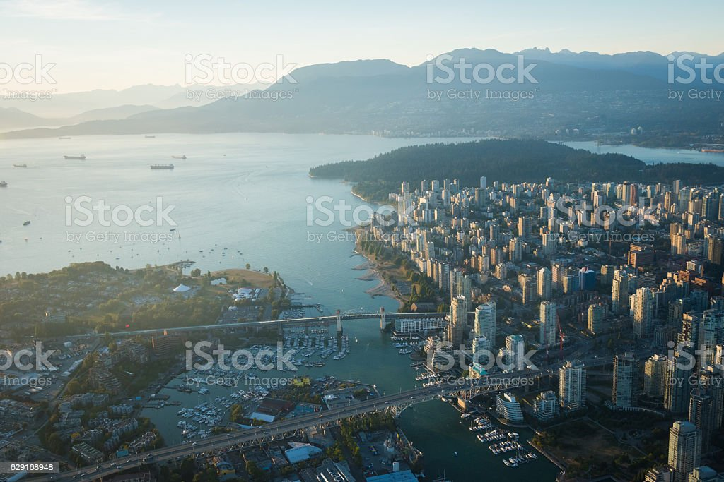 Aerial Image of Vancouver, British Columbia, Canada stock photo