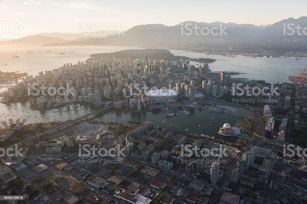 Aerial Image of Vancouver, British Columbia, Canada stock photo
