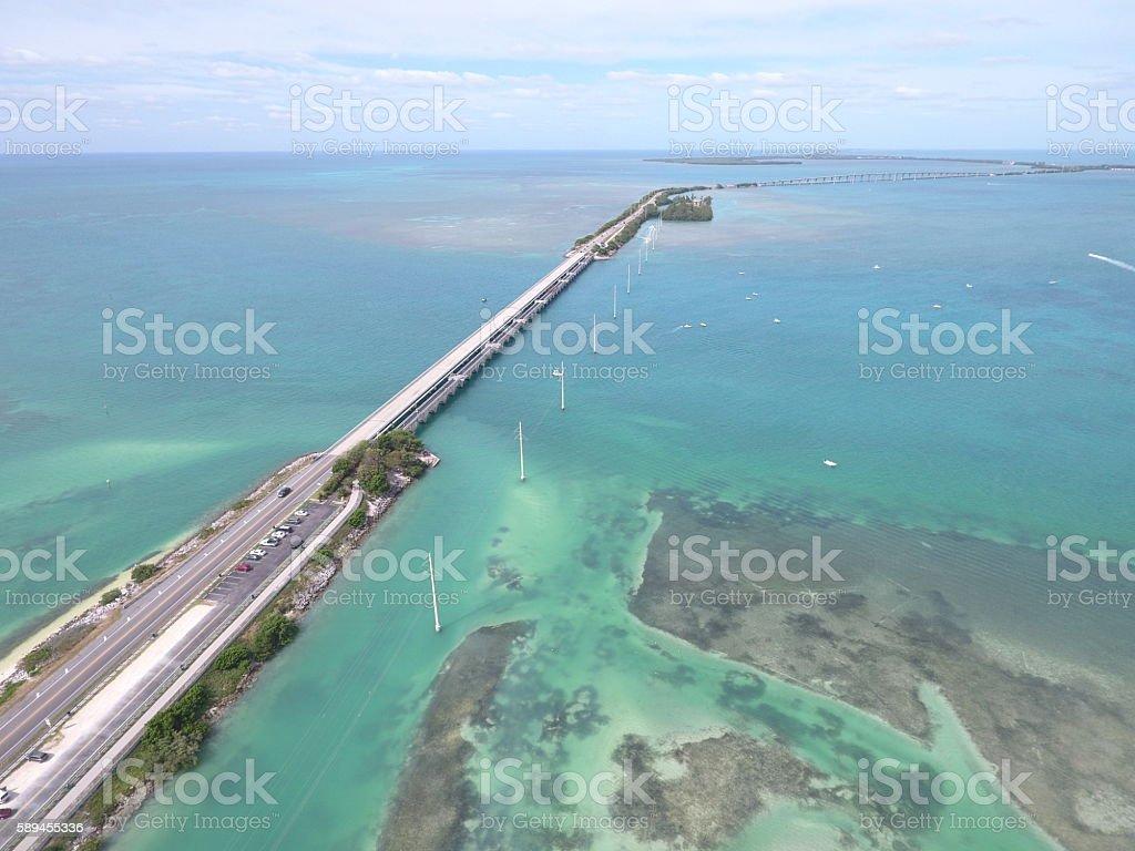 Aerial image Overseas Highway Florida stock photo