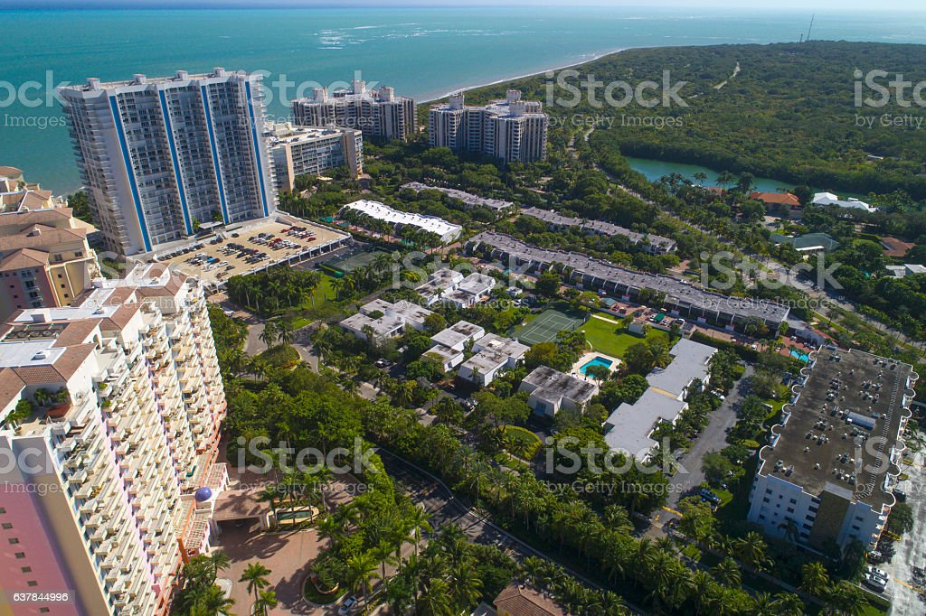 Aerial image residential neighborhood Key Biscayne stock photo
