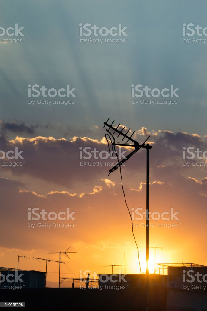 TV Aerial in Sunset stock photo