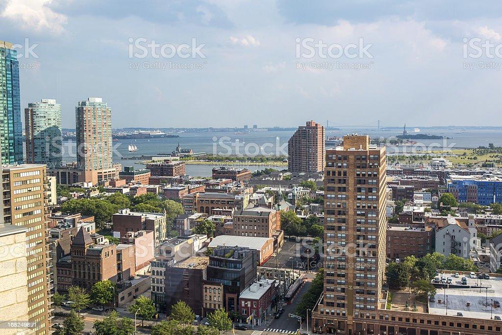 Aerial: Jersey City NJ and the Statue of Liberty NY stock photo