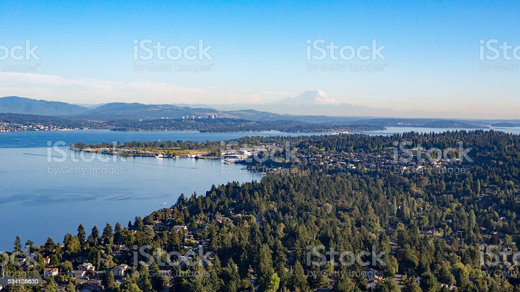 Aerial Kenmore, Shoreline, Seattle, Magnuson Park, Lake Washington, Mt Rainier stock photo