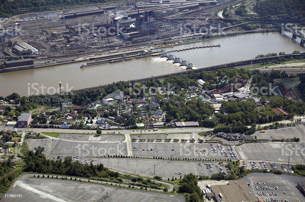 Aerial Kennywood Amusement Park royalty-free stock photo