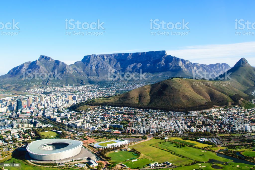 Aerial landscape of Table mountain in Cape Town stock photo